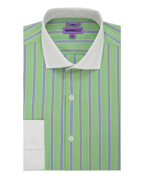French Cuff Slim Fit Dress Shirt Cotton Green