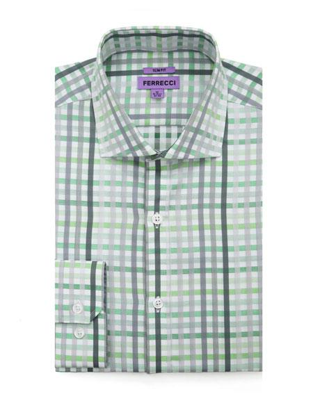 Slim Fit Dress Cotton Green Checked Pattern Gingham Shirt - Checker Pattern - French Cuff - White Collared + Free Bowtie