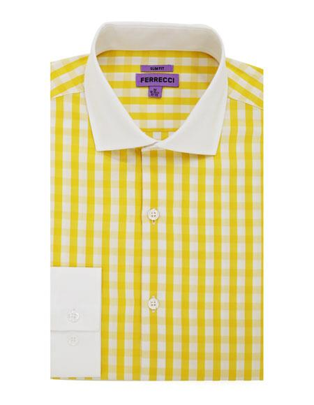 Fit Dress Spread Collar Slim Cotton Yellow Gingham Shirt - Checker Pattern - French Cuff - White Collared + Free Bowtie