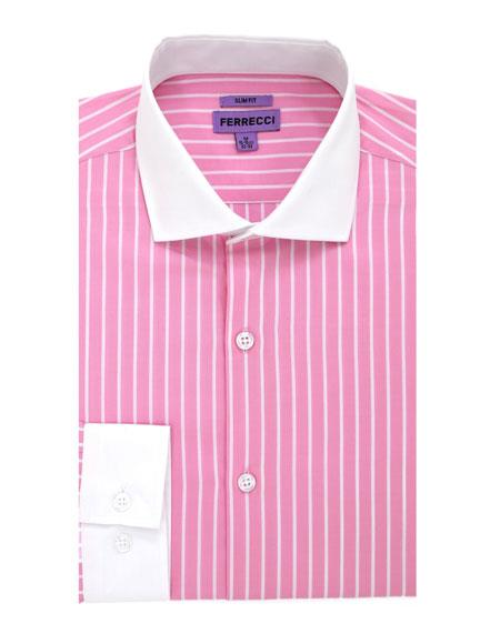 Striped Pattern Slim Fit Dress Cotton Pink Gingham Shirt - Checker Pattern - French Cuff - White Collared + Free Bowtie