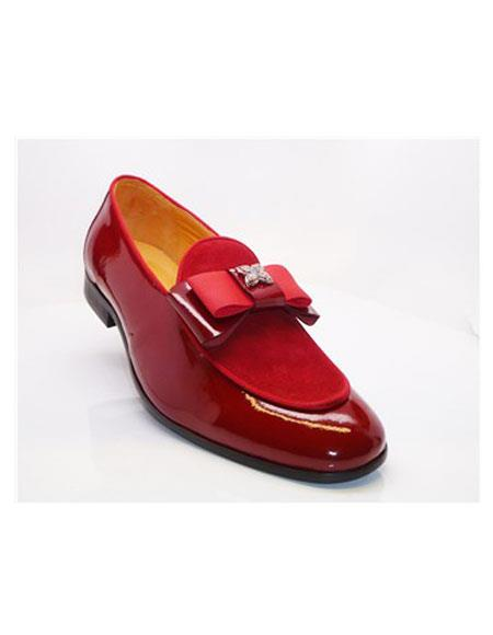 Perfect Grosgrain Bow & Piping Dress Tuxedo Red Carrucci men's Prom Shoe Perfect for Wedding