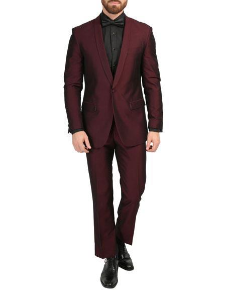 men's Blazer Shawl Collar Burgundy Slim Fitted Dinner Jacket