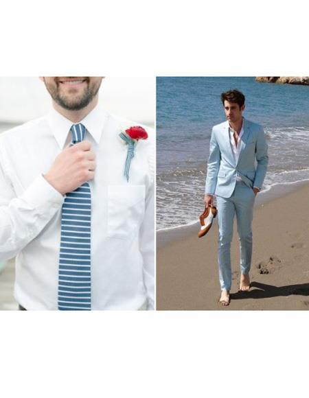 men's One Button Light Blue Beach Menswear Attire Wedding Suit