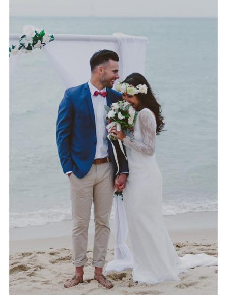 men's Beach Blue Wedding Attire Menswear Suit