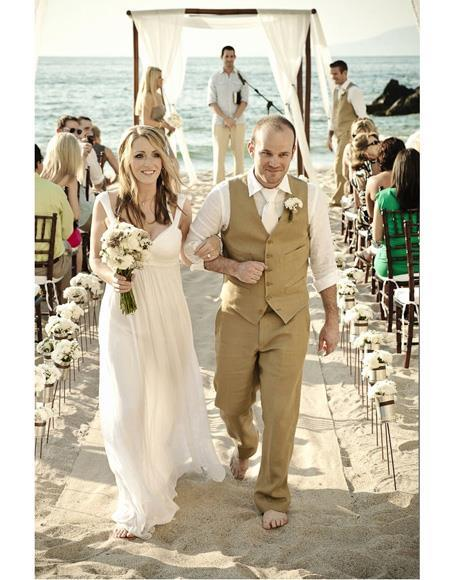 men's Menswear Beige Beach Wedding Attire Suit