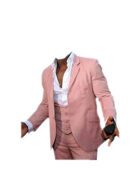men's Menswear Pink Beach Wedding Attire Suit