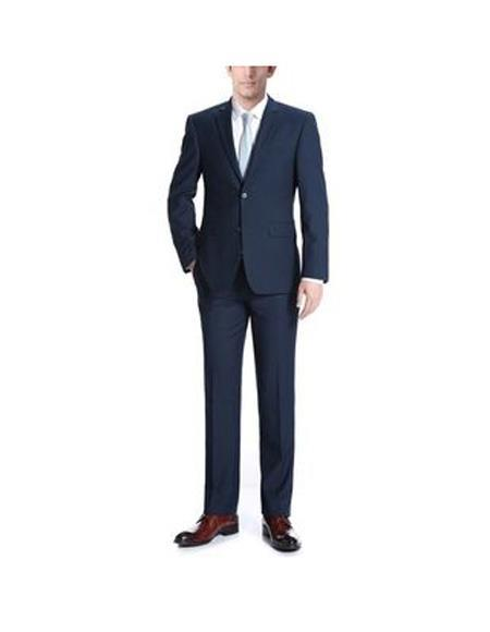 men's Navy Fit Polyester/Viscose Blue Slim Piece Suit