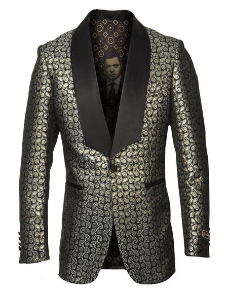 men's Shawl Lapel Gold Fancy Pattern Affordable Cheap Priced Unique Fancy For Men Available Big Sizes on sale Blazer