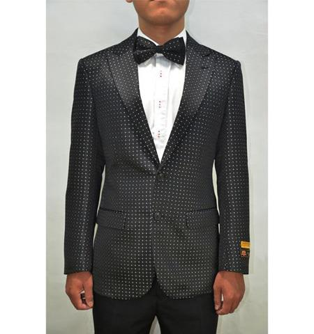 Black And White Or Navy Sport Jacket Polka Dot Pattern Fancy Fashion Affordable Cheap Priced Unique Fancy For Men Available Big Sizes on sale Pin Dots With men's Blazer