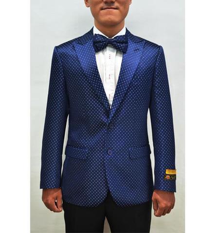 Mens Sport Jacket Polka Dot Pattern Fashion Pin Dots Blazer