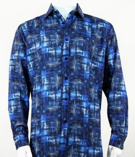ID#SU27421 Mens Blue Fashion Pattern Long Sleeve Full Cut Shirt