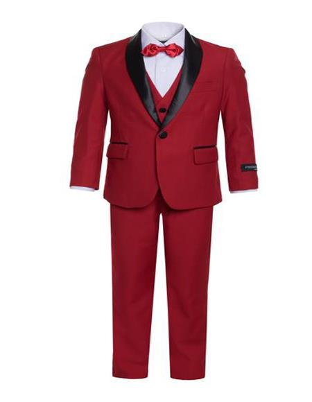 Perfect for Prom men's Shawl Lapel Boys Red One Button Closure Tuxedo Set - Toddler Suit