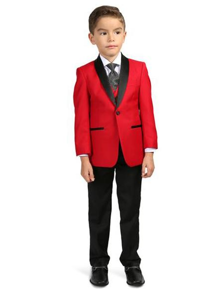 Perfect for Prom men's Shawl Lapel Red/Black  Boys Tuxedo Set - Toddler Suit