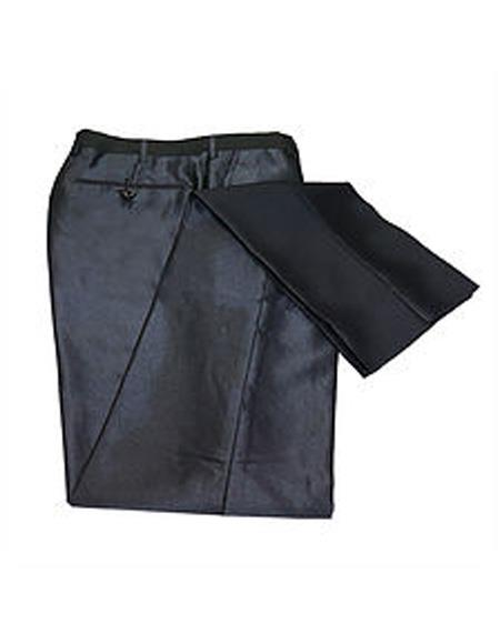 ID#SU27645 men's Slim Black Shiny Dress Sharkskin Metallic Slim Fit Pants