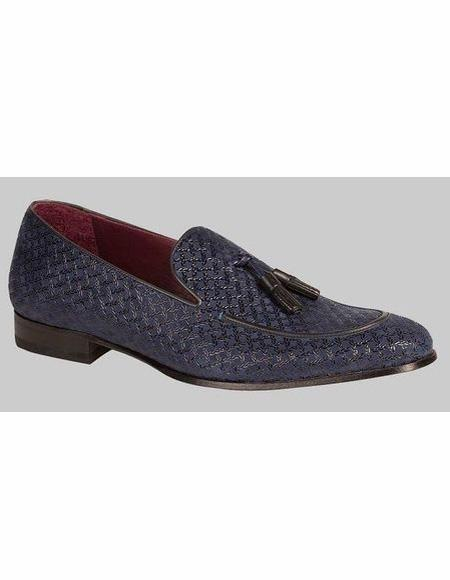 men's Slip On Stylish Dress Loafer Design Blue Shoe