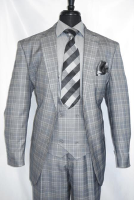 Vinci Grey Plaid- Vested Men's Checkered 1930 Suit