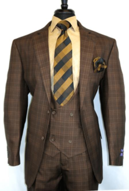 Bold Plaid Design Vinci Brown Chestnut- Plaid Vested Men's 1920s Fashion Clothing 50 Checkered 1930 Suit