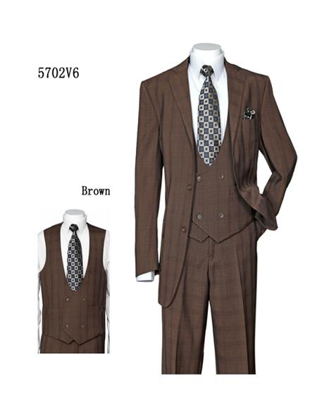 men's Vested 3 Piece Suit Brown Plaid ~ Windowpane Double Breasted Checkered Suit
