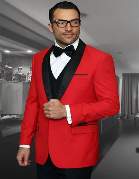 Perfect Red and Black Tuxedo for Prom Two Toned Tuxedo 2020 Affordable Cheap Priced Unique Fancy For Men Available Big Sizes on sale Dinner Jacket 1 Button Shawl Collar Cheap Blazer Jacket