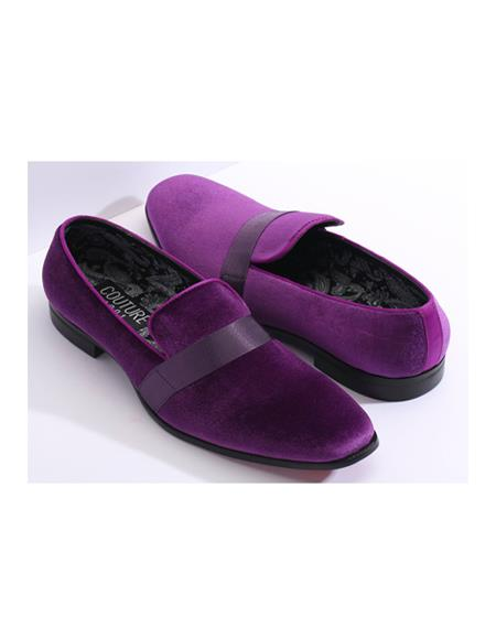 Slip On Couture Tuxedo Black Two toned men's Purple Dress Shoe Perfect for Wedding
