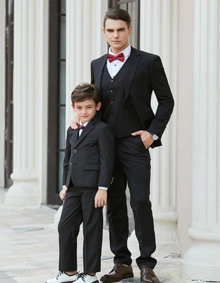 Father ~ Dad And Son Matching Suits Black
