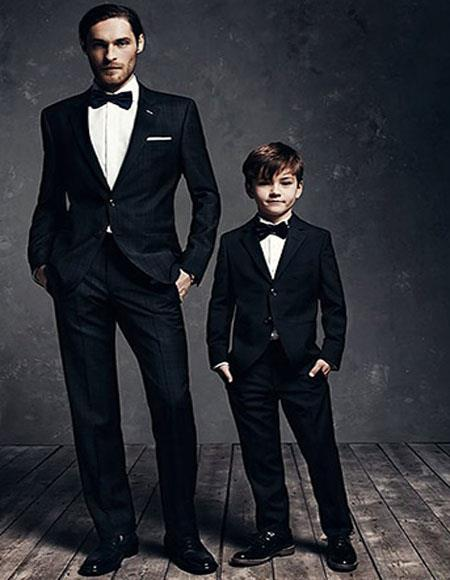 Father ~ Dad And Son Matching  Black Suits