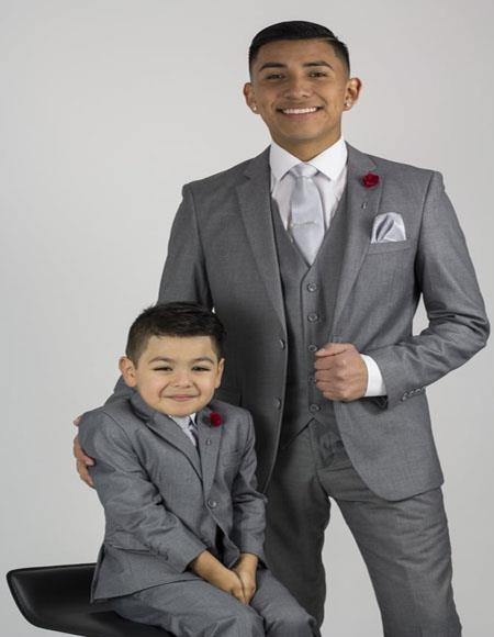 Father ~ Dad And Son Gray Matching Suits