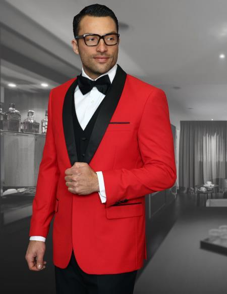 Red Dress And Black Mens Suit Comes With Black Pants