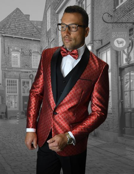 Buy Red Suit Jacket men's Comes with Black Lapel Jacket and Pants Black Pants
