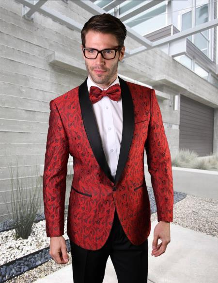 Black and Black Lapel Jacket Comes with Black Pants and Pants Red Dress men's suit