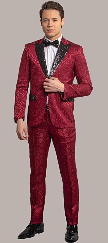 ID#AI28449 Giovanni Testi Red Tuxedo Suit Jacket And Pants