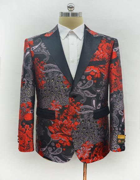 Unique men's Flap Front Pockets Casual Print Fashion Printed Fabric Perfect Blazer