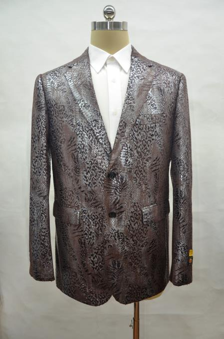 Alligator Black ~ Brown Print Crocodile Ostrich Looking Gator Big and Tall men's Snake Skin Jacket Coat