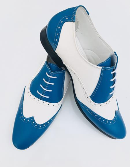 Alberto Nardoni Leather Sky Blue Upper Two Toned Wing Tip ~ Wingtip Dress Lace up Oxford Shoe