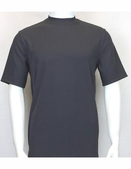 Short Mock Charcoal Neck Shirts For Men