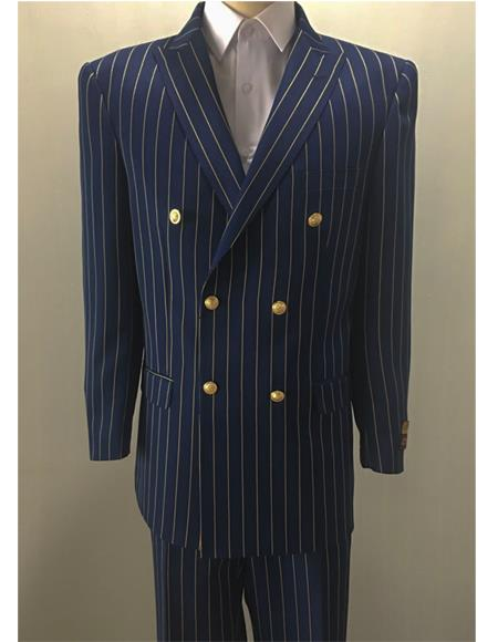 Navy ~ Gold Pinstripe men's Double Breasted Suits Jacket Blazer
