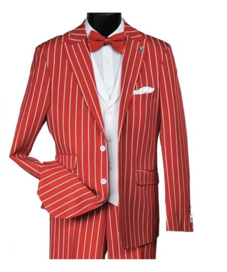 men's 1920s 1940s Gatsby Vintage Suit For Sale Red White Pinstripe