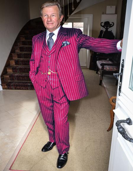 1920s 1940s men's Mobster Vintage Gatsby For Sale and White Pinstripe - Burgundy Suit