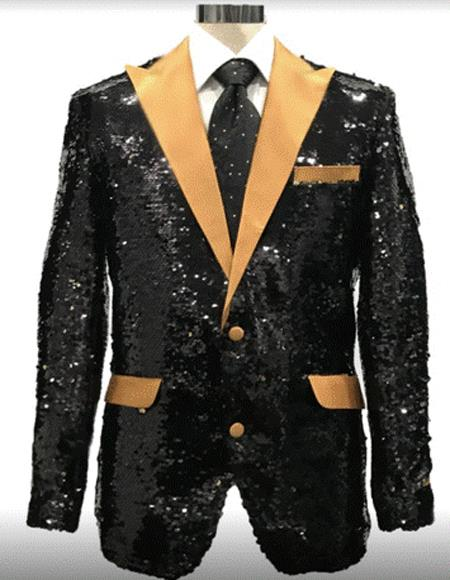 Black And Gold Lapel Sequin Fabric Tuxedo 2020 Dinner Jacket Fashion / Two Toned Prom Blazer