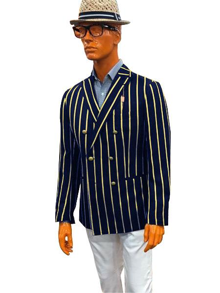Mens Bold Stripe Blazer Double Breasted With Brass Buttons Sport Coat