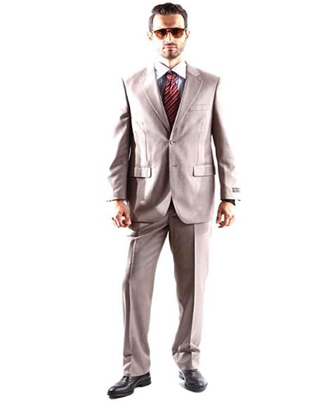 men's Two Button Dress Light Taupe Suit