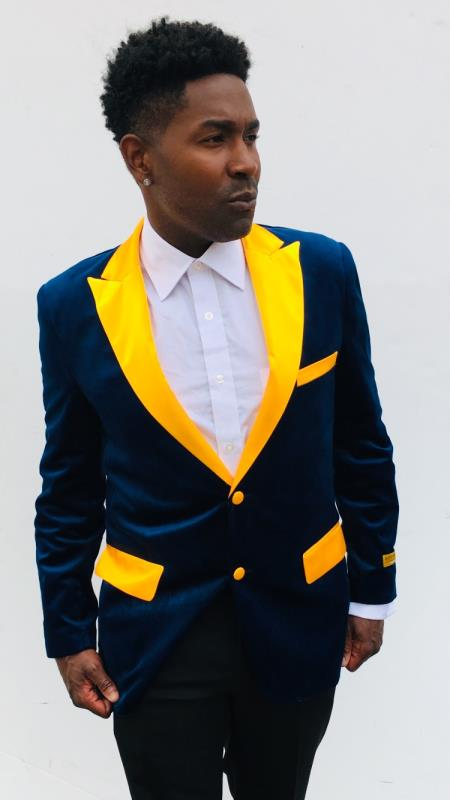 Navy Blue and Goldish Yellowish Lapel Velvet Jacket Sport Coat men's Blazer With Matching Bowtie