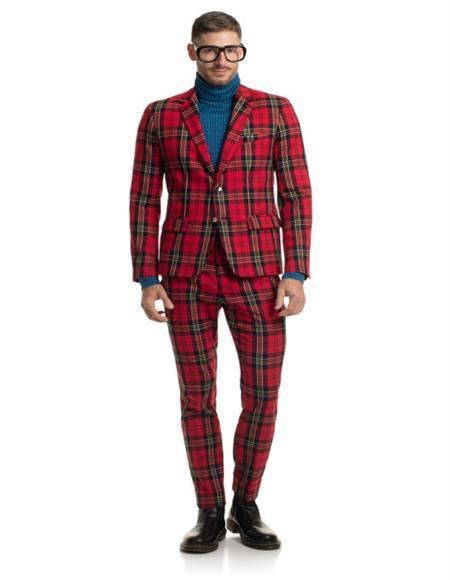 men's 2 Button Two Flap Pocket Red Christmas Party Blazer