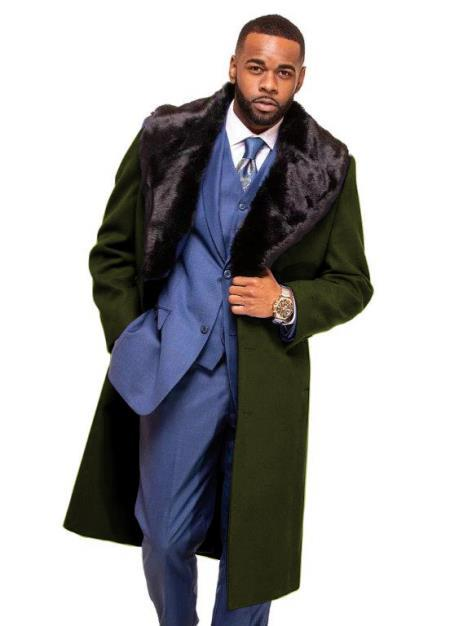 Overcoat ~ Long men's Dress Topcoat - Winter coat With Fur Collar Dark Olive In Cashmere And Wool Fabric Alberto Nardoni