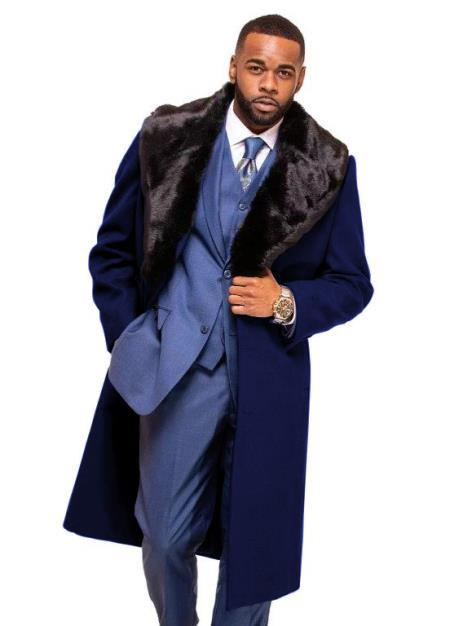 Dark Navy Blue Overcoat ~ Long men's Dress Topcoat - Winter coat With Fur Collar In Cashmere And Wool Fabric Alberto Nardoni