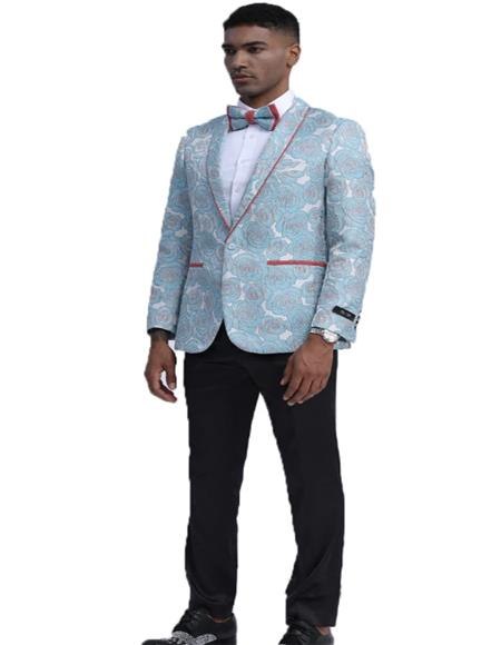 Paisley ~ Floral Pattern Fashion Blazer Slim Fit Tuxedo Dinner Jacket Perfect for Prom & Wedding & Stage Sky Blue