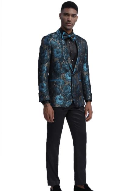 Paisley Prom Outfit Wedding Slim Fit Tuxedo Suit (Jacket & Pants) + Matching bow tie  ~ Floral Pattern Fashion + Teal