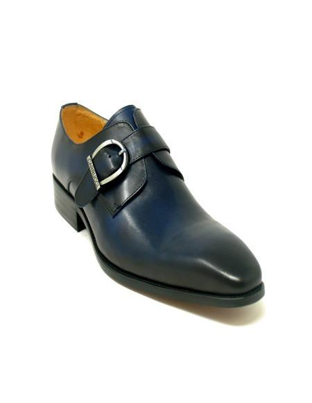 men's Fashionable Carrucci Buckle Monk Strap In Navy