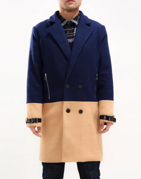 men's Half Way There Double breasted Overcoat Designer men's Wool Peacoat Sale Navy Blue and Camel Car Coat