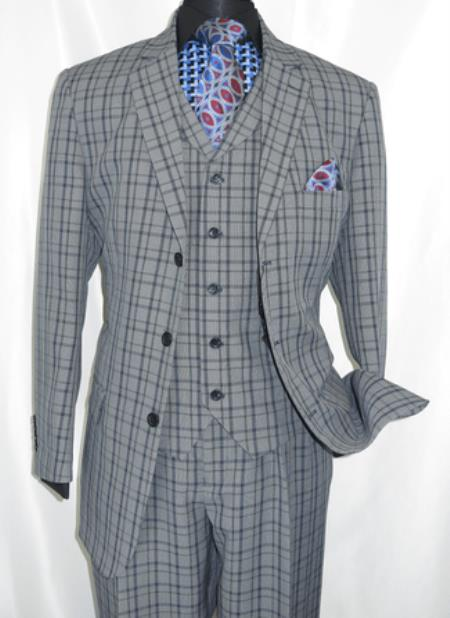 ID#KA30023 3 Button 3 Piece Navy Plaid Fortino Checkered Suit 1920s men's Fashion